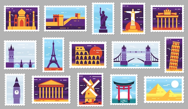 World cities post stamps. travel postage stamp design, city attractions postcard and town