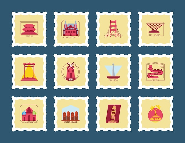 세계 도시 우표 아이콘 모음 디자인, 여행 관광 및 투어 테마 그림