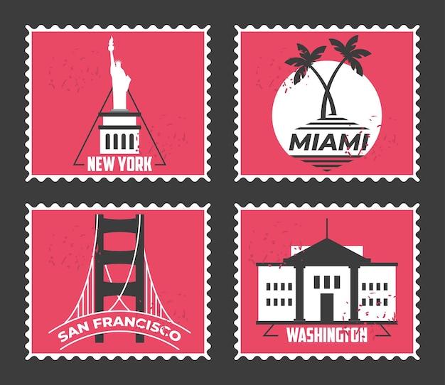 세계 도시 우표 세트 디자인, 여행 관광 및 투어 테마 그림