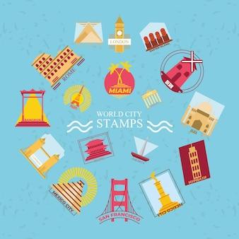 세계 도시 우표 기호 컬렉션 디자인, 여행 관광 및 투어 테마