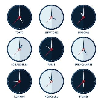 World clocks for time zones of different cities vector set