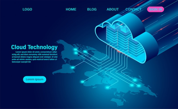 World cloud technology concept. online computing technology. big data flow processing concept on map. isometric flat design  illustration