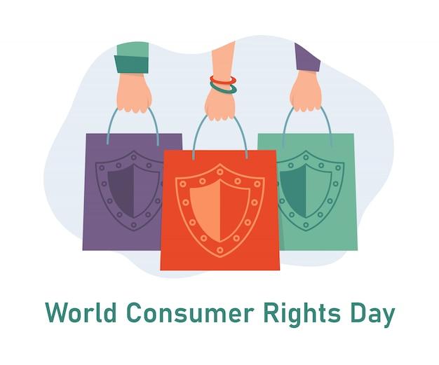 세계 소비자의 날. 쇼핑백과 손입니다. 패키지의 방패 표시. 소비자 보호의 날 인사말 카드. 삽화