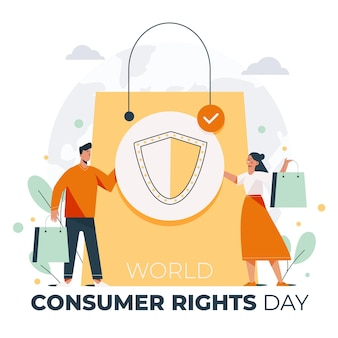 World consumer rights day illustration with people and shopping bag
