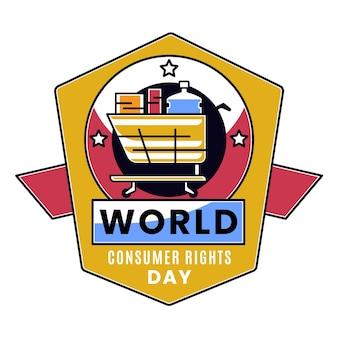 장바구니와 함께 세계 소비자 권리의 날 그림