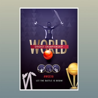World cricket championship poster template, vector illustration of cricket player in winning pose