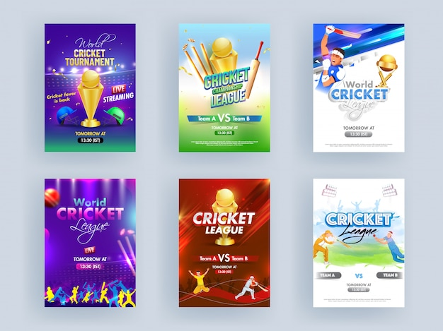 World cricket league template or flyer set with cricketer characters and golden trophy