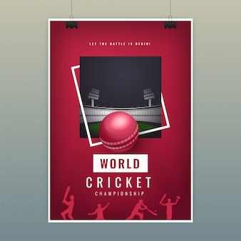 World cricket poster template with realistic ball on night view playground