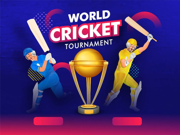 World cricket tournament banner with champion