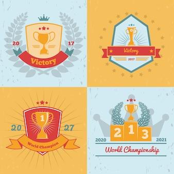 Победители чемпионата мира награждают золотыми трофеями эмблемы 4 коллекции плоских цветных фоновых иконок изолированы