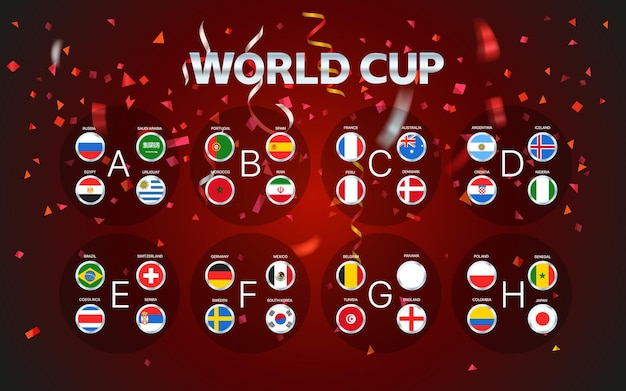 World cup groups layout with confetti