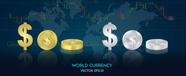 World currency symbols in the form of gold coins and silver of each country. trend of graph design world, stock exchange.