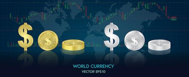 Символы мировых валют в виде золотых монет и серебра каждой страны. тенденция графического дизайна мира, фондовая биржа.