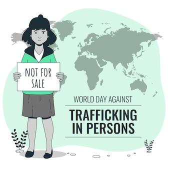 人身売買に反対する世界の日コンセプトイラスト