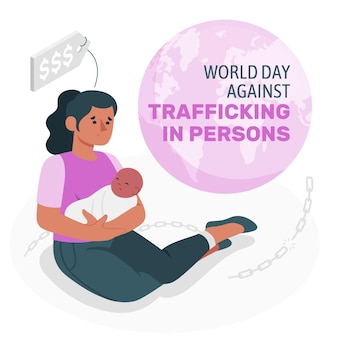 World day against trafficking in persons concept illustration
