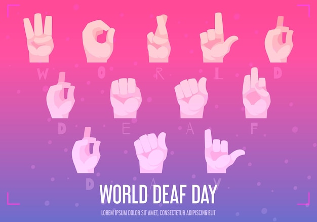 손 알파벳 기호 평면 일러스트와 함께 세계 청각 장애인의 날 포스터