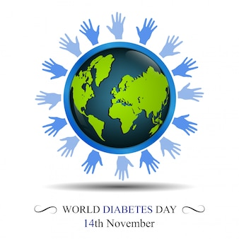 World diabetes day awareness with hand circling the earth