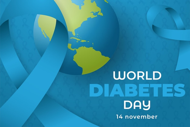 World diabetes day awareness with world and ribbon ornament