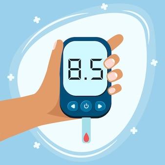 Осведомленность о всемирном дне диабета. баннер всемирного дня диабета с электронным глюкометром и уколом, готовый взять под контроль уровень глюкозы.