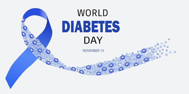 World diabetes day banner background design with blue ribbon of flowers.
