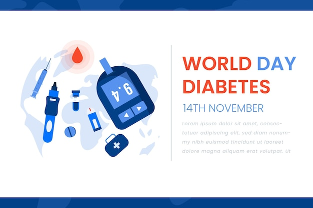 Всемирный день диабета баннер в стиле шаблона
