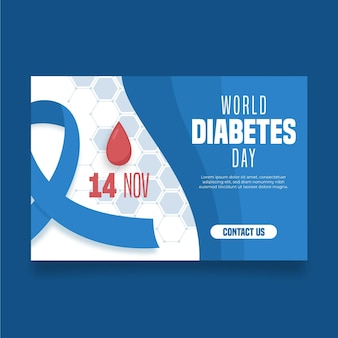 World diabetes day banner with blue ribbon