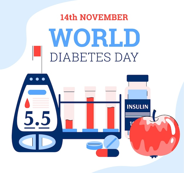 World diabetes day banner with glucometer flat cartoon vector illustration