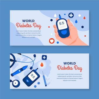 World diabetes day banners with device