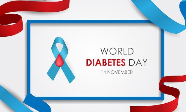 세계 당뇨병의 날 혈당 조절 리본 및 아이콘 벡터