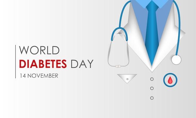 World diabetes day blood sugar control ribbon and icon vector