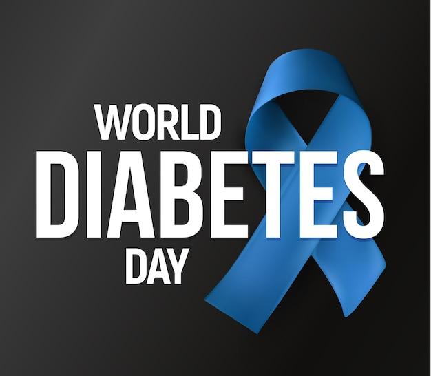 世界糖尿病デー。青いリボン