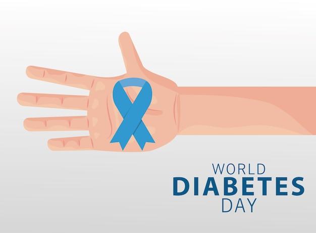 青いリボンのイラストデザインを手で持ち上げる世界糖尿病デーキャンペーン