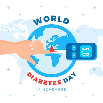 World diabetes day celebration flat design