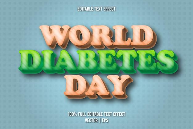 World diabetes day editable text effect cartoon style