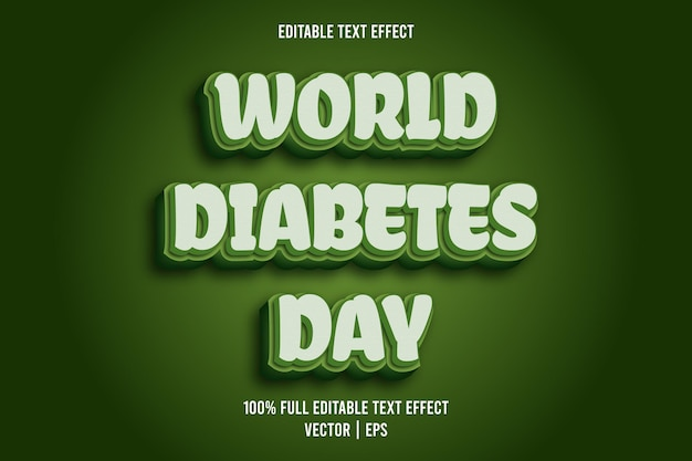 World diabetes day editable text effect comic style green color
