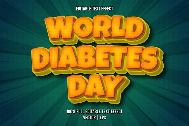 World diabetes day editable text effect comic style
