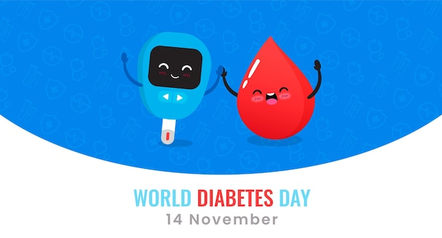 World diabetes day glucometer and drop of blood banner