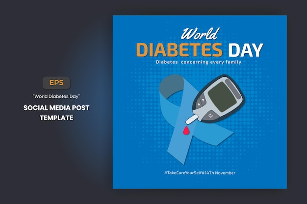 World diabetes day hand drawn banner poster for social media post