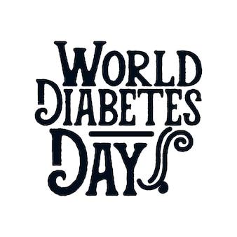 Всемирный день борьбы с диабетом. ручной обращается дизайн плаката типографии.