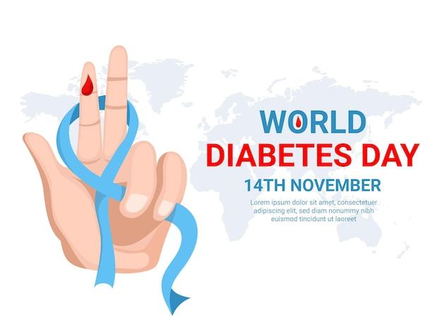 세계 당뇨병의 날은 손 리본과 혈액이 있는 평면 디자인을 보여줍니다.