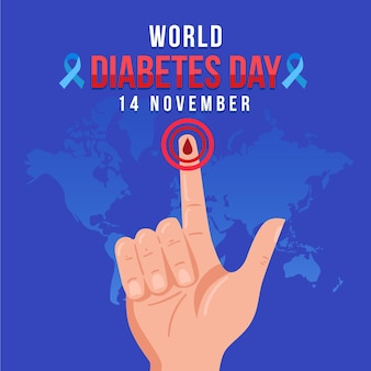 World diabetes day illustration with text