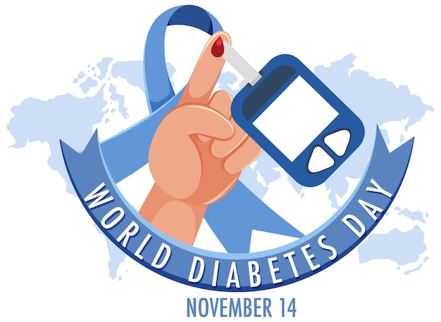 World diabetes day logo or banner with blood on a finger