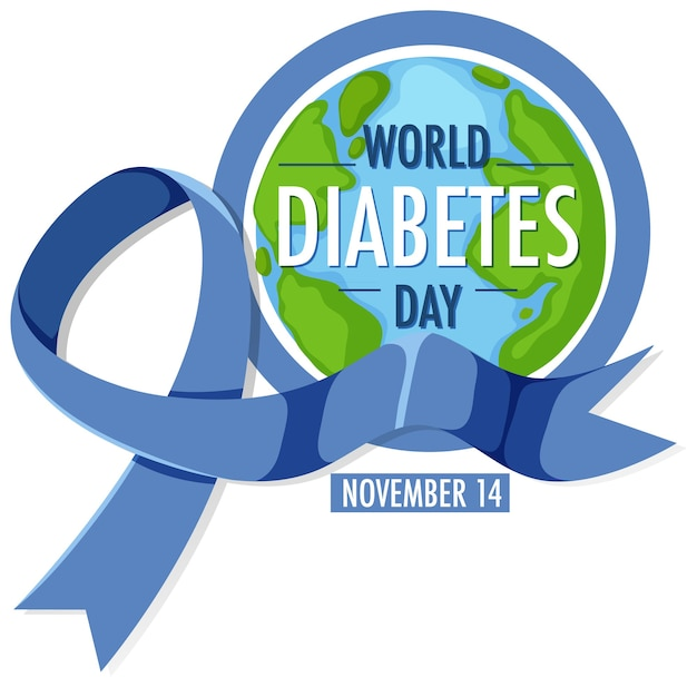World diabetes day logo or banner with blue ribbon and globe
