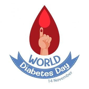 世界糖尿病デーのロゴまたは血の滴のバナー