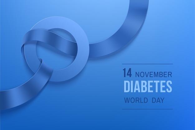 世界糖尿病デー11月。糖尿病デーの写実的なリボンと青い円のシンボル