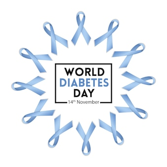 World diabetes day vector illustration design with blue ribbons pattern for awareness