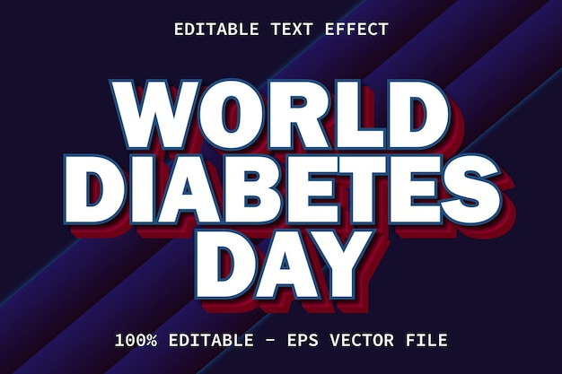 World diabetes day with modern style editable text effect