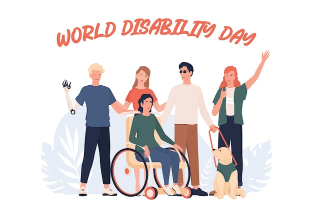 World disability day. disabled people standing together. people with prosthesis and in wheelchair, deaf-mute and blind.