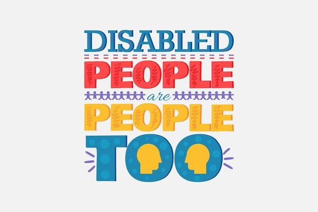 Всемирный плакат защиты людей с ограниченными возможностями с творческой надписью. дискриминация по инвалидности и поддержка концептуального баннера дизайн векторные иллюстрации