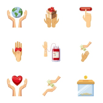 World donor day icons set, cartoon style